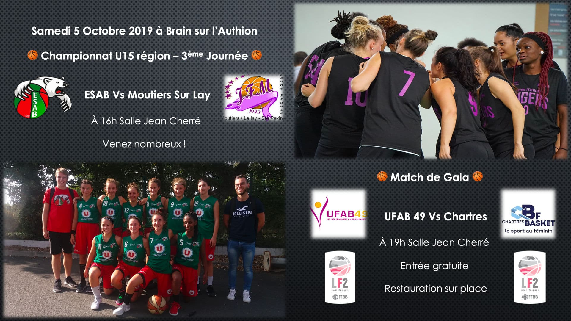 UFAB49 vs Chartres à Brain sur l'Authion, le Samedi 5 octobre 2019